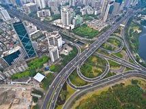 Free Aerial Photography Bird-eye View Of City Viaduct Bridge Road Lan Stock Photos - 95881133