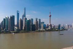 Aerial photography at city landmark buildings of Shanghai Skyline. Aerial photography bird view city landmark buildings background at Shanghai bund skyline royalty free stock photography