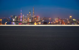 Aerial photography bird view at Shanghai bund Skyline. Aerial photography bird view at Empty road floor surface with city landmark buildings background at Stock Photos