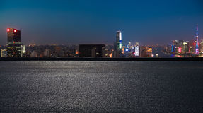 Aerial photography bird view at Shanghai bund Skyline. Aerial photography bird view at Empty road floor surface with city landmark buildings background at Royalty Free Stock Photography
