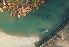 Aerial Photography of Boat Sailing stock photography