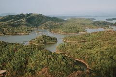 Aerial Photography Of Body Of Water Surrounded By Trees stock photography
