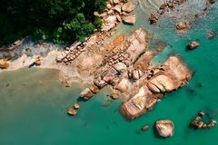 Aerial Photography of Brown Rocky Shoreline royalty free stock photo