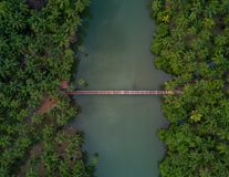 Aerial Photography of Brown Wooden Foot Bridge Connecting Two Forests Stock Photo