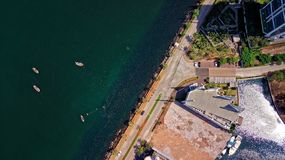 Aerial Photography of Building Near Body of Water royalty free stock photo