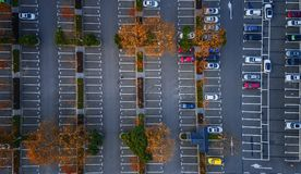 Aerial photography - car parking. This is a car parking lot in Zhongshan Scenic Area, Nanjing, China stock images