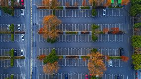 Aerial photography - car parking. This is a car parking lot in Zhongshan Scenic Area, Nanjing, China royalty free stock photos