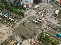Aerial Photography of Cars on Road Intersection Royalty Free Stock Photo
