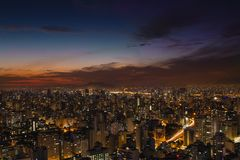 Aerial Photography of City Buildings Under Blue and Orange Sky royalty free stock images