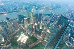 Aerial photography at City modern landmark buildings of night Stock Image