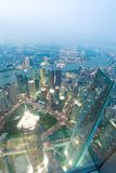 Aerial photography at City modern landmark buildings of night. Aerial photography at City modern landmark buildings backgrounds of night scene in Shanghai royalty free stock photography