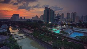 Aerial Photography of City at Sunset Royalty Free Stock Images
