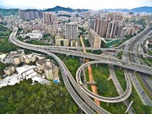 Aerial photography of City viaduct bridge road landscape Royalty Free Stock Photo