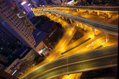 Aerial photography at city viaduct overpass bridge of night Royalty Free Stock Photo