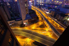 Aerial photography at city viaduct overpass bridge of night Royalty Free Stock Images