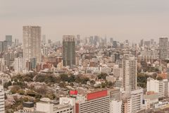 Aerial photography , Cityscape overlooking Tokyo, Japan royalty free stock photo