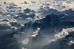 Aerial  photography with clouds Stock Photos