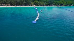 Aerial photography at Coral island. Koh Hey or Coral island is close to Phuket island 15 minits from Chalong pier.the place for snorkeling diving and water sport Stock Image