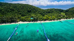 Aerial photography at Coral island. Koh Hey or Coral island is close to Phuket island 15 minits from Chalong pier.the place for snorkeling diving and water sport Royalty Free Stock Images