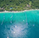 Aerial photography at Coral island. Koh Hey or Coral island is close to Phuket island 15 minits from Chalong pier.the place for snorkeling diving and water sport Stock Photography