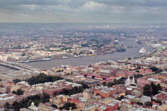 Aerial Photography a European city, divided navigable river. Royalty Free Stock Image