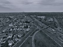 Aerial photography Flushing residential area. Aerial photography overlooking the residential area of Queens, Queens, New York royalty free stock photography