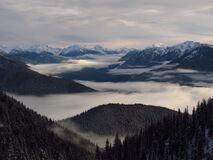 Aerial Photography of Foggy Mountains Stock Photography