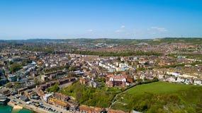 Aerial photography of Folkestone city, Kent, England. Aerial photography of Folkestone city center, Kent, England stock photo