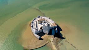 Aerial photography of Fort Louvois in Charente Maritime. France stock photography