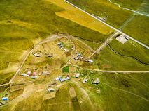 Aerial photography ganan grassland and road,gansu,china.  royalty free stock images