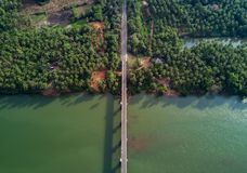 Aerial Photography of Gray Bridge over Body of Water Stock Photography