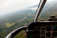 Aerial photography. From a helicopter cockpit royalty free stock photo