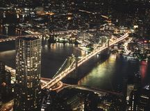 Aerial Photography of High Rise Buildings at Night Time stock photo