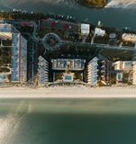 Aerial Photography of High-rise Tower Near the Body of Water stock photos