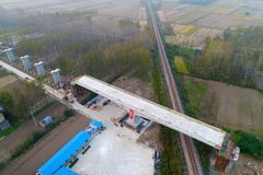 Aerial photography of high-speed railway construction in huai `an, jiangsu province, China. On the site of the high-speed railway construction in huaiyang town Royalty Free Stock Images