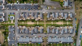 Aerial photography of houses in Nantes city, France royalty free stock images