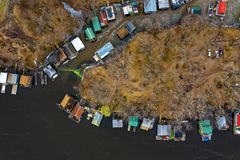 Aerial Photography of Island Near Body of Water royalty free stock photos