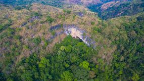 Aerial photography landscape. Of Thanlod Yai cave to Thanlod Noi cave between two caves there have many waterfall along the way water from Thanlod Yai cave pass Stock Photos