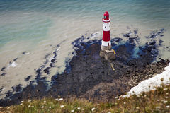 Aerial photography of a lighthouse and sea near Beachy Head in E Royalty Free Stock Image