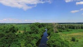 Aerial photography little wild river, aero stock video