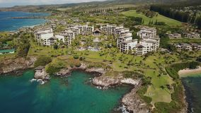 Fascinating landscape of the most famous resort montage kapalua which situated on the shore of pacific ocean on maui. Aerial photography of luxurious 5 resort on stock footage