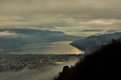 Aerial Photography of Mountains and Body of Water stock photography