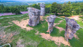 Aerial photography natural stone sculpture at Mo Hin Khao Royalty Free Stock Images