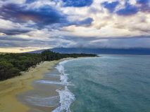 Aerial Photography with Ocean, Sunset and Sky from Makena Big Beach in Maui Hawaii royalty free stock images