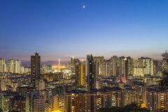 Aerial Photography Off High Rise Building during Nighttime Stock Photography