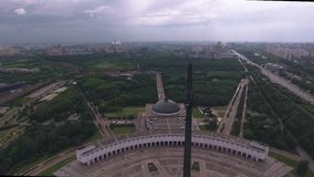 Aerial photography Park victory in Moscow stock footage