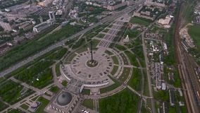 Aerial photography Park victory in Moscow stock video
