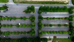 Aerial Photography of Parking Lot With Trees Royalty Free Stock Photo