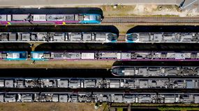 Aerial photography of passenger trains in Nantes Blottereau station stock photos