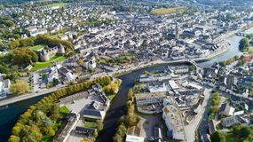 Aerial photography of Pontivy city center in the Morbihan. Aerial view of Pontivy city and castle in the Morbihan, France Stock Images